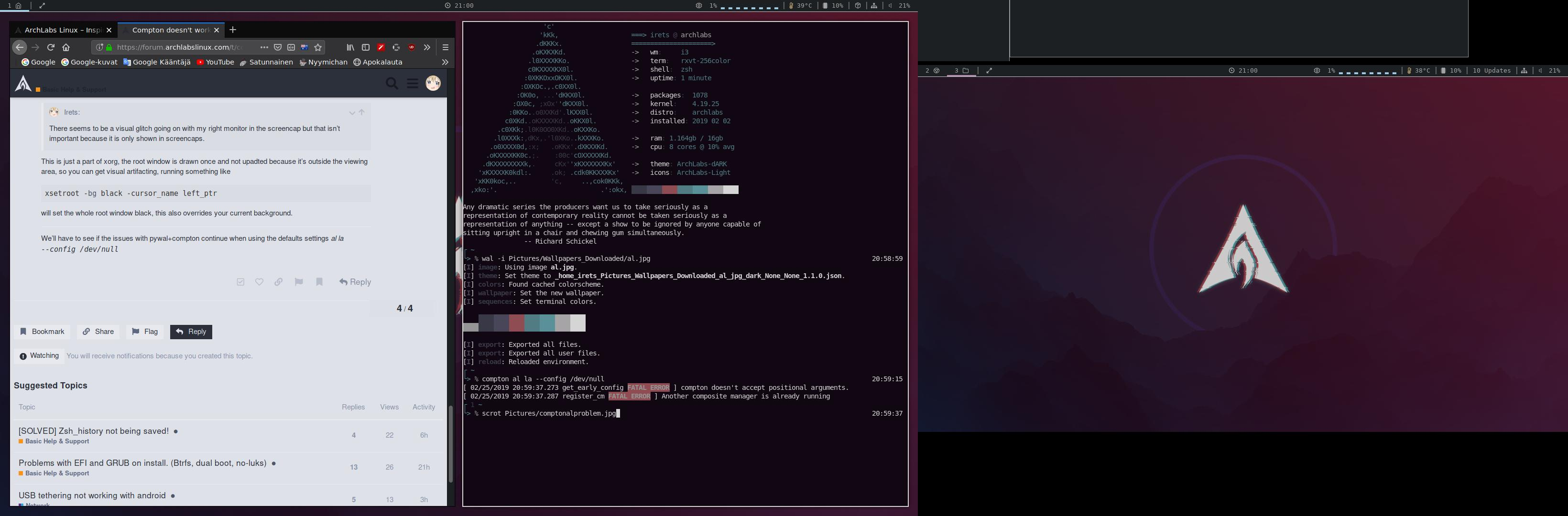 Compton doesn't work with pywal - Basic Help & Support - ArchLabs Linux